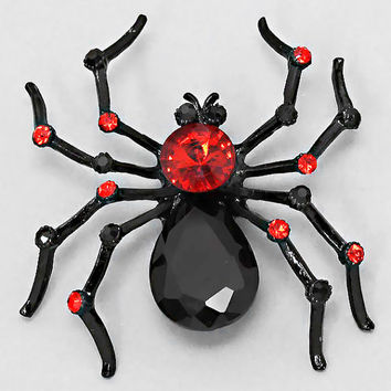 Black Red Spider Pin Brooch Pendant Halloween Jewelry Crystal Rhinestones