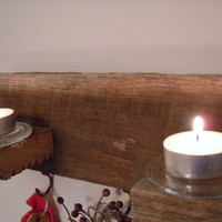 Rustic Handmade Reclaimed Barn Wood Keyholder & Tealight Candle Holder | Primitive Wall Decor Entryway | Unique Gift Doorway Hooks