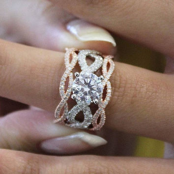 "Gabriel ""Andromeda"" 14K Two Tone Rose & White Gold Twist Diamond Engagement Ring"