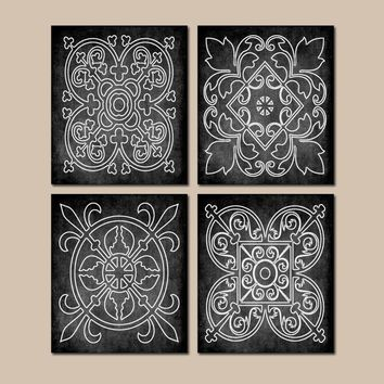 BLACK Wall Art, CANVAS or Prints, Chalkboard Farmhouse, Medallion Outline, Bathroom Picture, Bedroom Decor, Matching Decor, Set of 4