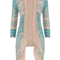 neon chevron print cardigan with fringe