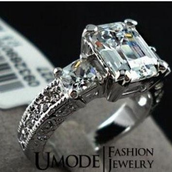 DCCKIX3 The white gold Plated Rectangle Emerald Cut CZ Zircon Engagement Rings = 1931906500