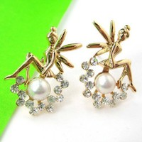 Tinker Bell Fairy Angel Stud Earrings in Gold with Pearl Rhinestones