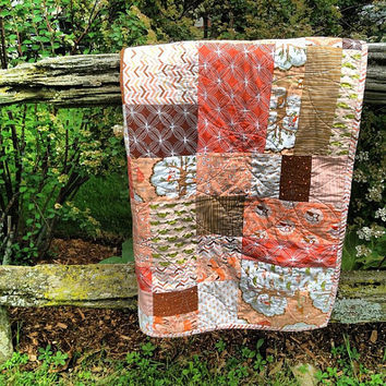 Les Amis Baby Girl Quilt, Baby Blanket, Nursery, Quilt Pink, Peach, Coral, White, Fox, Turtle, Owls, Forest