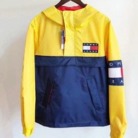"""Tommy Hilfiger"" Trending Women Men Print Loose Retro Stitching Color Half Hoodie Zipper Windbreaker Jacket Coat I"