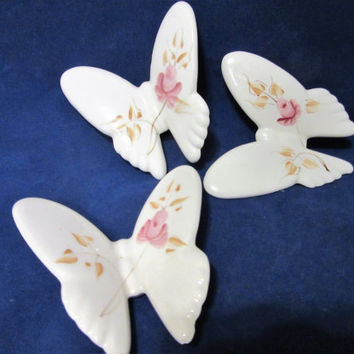 Butterfly Wall Hanging Lasting Products Inc USA Pink Rose Pattern Porcelain Ceramic Pottery Wall Art