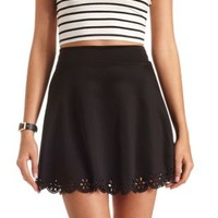 Laser-Cut Scalloped Skater Skirt by Charlotte Russe - Black