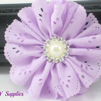 Lavender eyelet chiffon flower with pearl rhinestone center - fabric flowers - wholesale flowers - hair bow supplies - flower head