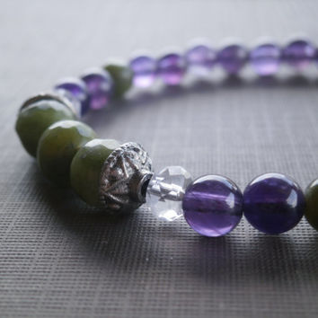 Natural Gemstone Bracelet. African Jade, Amethyst and Oxidized Silver. Gift for Her, Stacking and Layering. Green and Purple Bracelet.