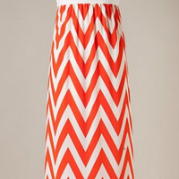 A Step in the Right Direction Chevron Maxi Dress - Orange and White