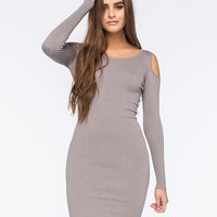 Say What Cold Shoulder Ribbed Knit Dress Charcoal  In Sizes