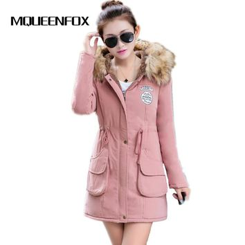 MQUEENFOX Winter Jacket Women Fur Coat Hooded Parka Women Jackets Military Women Winter Jackets and Coats Female Winter Jacket