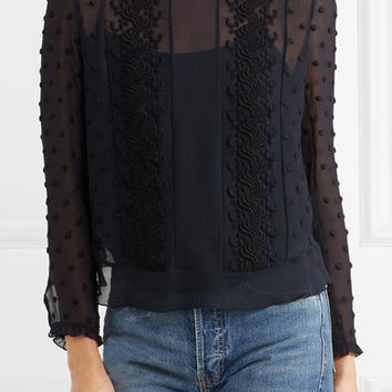 See by Chloé - Embroidered georgette top