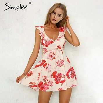 Simplee V neck print backless short dress women Ruffle sleeveless sash summer dress 2018 Beach elegant mini dress vestido