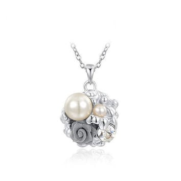 New Arrival Stylish Gift Shiny Floral Jewelry Pearls Necklace [9281915268]