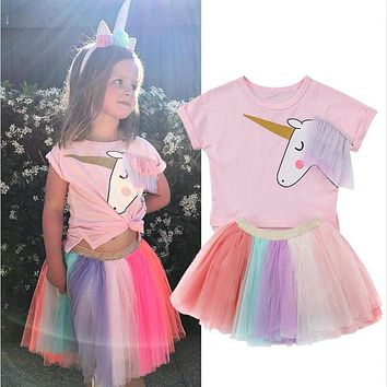 Cute Girl Unicorn Clothing Set