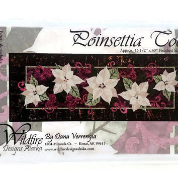 Poinsettia Too Applique Quilt Pattern by Wildfire Designs Alaska for Table Runner, Placemats & Napkins!