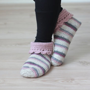 FREE Shipping Worldwide - Women Home Crochet Socks Slippers, Handmade, custom size, color