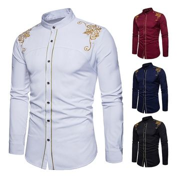 Mens Hipster Fit Long Sleeve Button Embroidery Down Dress Shirts Tops Blouse