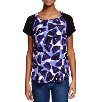 NYDJ Womens Geometric Mixed Media Blouse