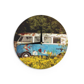 "Angie Turner ""Hippie Bus"" Blue Yellow Wall Clock"