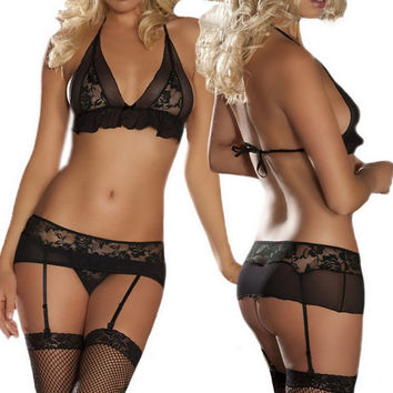Sexy Hollow Out Lace Underwear Bra Lingerie with Silk Stockings Gift