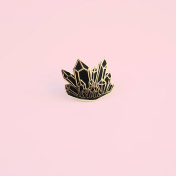 Black Smoky Quartz Enamel Pin