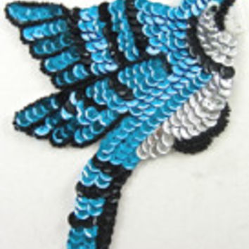 "Bird Blue Jay with Blue/Black/Silver Sequins 6"" x 4.5"""