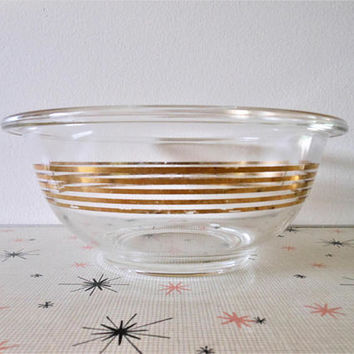 Hard to Find Promotional Pyrex Musical Staff 323 Nesting Bowl, Pyrex 323, Gold Stripe 1.5 Quart Mixing Bowl, 1.5 Liter Mixing Bowl