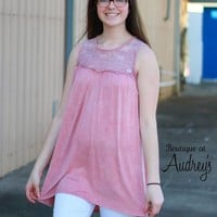 Mineral Wash Blush Dress with Sheer Embroidered Neckline