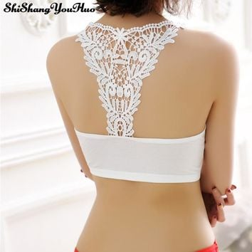 Sexy Tube Tops Women Cut-out Strap Bra Bandage Lace Bralette Crop Top Bandeau Top Cropped Feminino Sutia Sosten