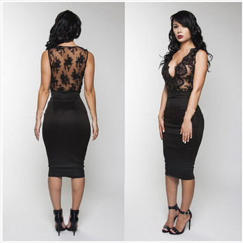 Black Floral Lace Deep V Neck Sleeveless Bodycon Midi Dress