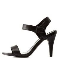 Black Qupid Single Strap Dress Sandals by Qupid at Charlotte Russe