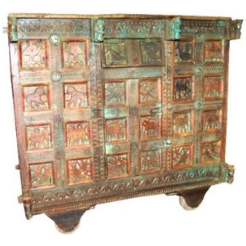 18c Antique Indian Sideboard Dresser Buffet Distressed Green Patina Shabby Chic