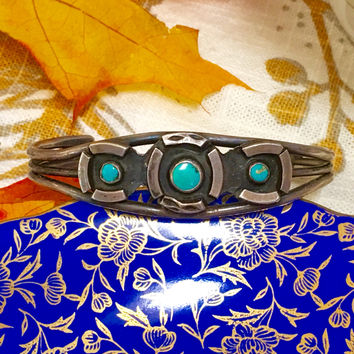 Wrought Sterling Silver Turquoise Cuff Bracelet Navajo
