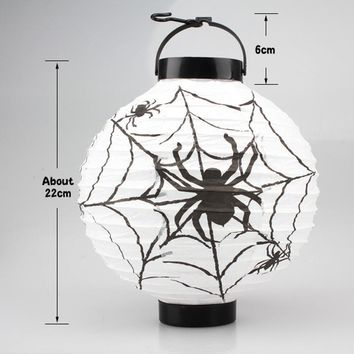 Halloween Pumpkin Hanging LED Paper DIY Lantern 2018 Halloween Scary Spider Web Props Lamp Festival Holiday Party Supplies Decor