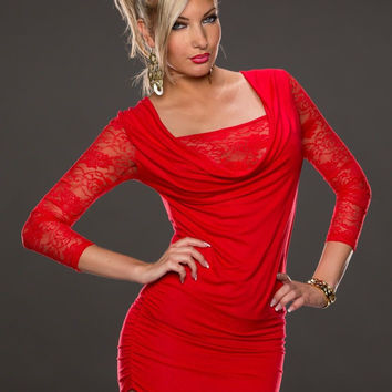 Red Lace Accent Half Sleeve Ruched Mini Bodycon Dress
