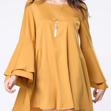Casual Round Neck Lace-up Plain Bell Sleeve Shift Dress