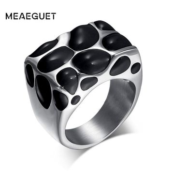 Meaeguet 16mm Wide Fashion Big Rings For Women Men Jewelry Trendy Stainless Steel Resin Wedding Rings Jewelry