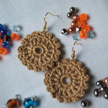 Handmade Crochet Earrings. Light Brown Earrings.