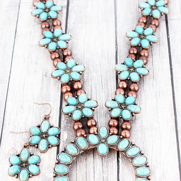 BURNISHED COPPERTONE AND TURQUOISE FLOWER SQUASH BLOSSOM NECKLACE AND EARRING SET