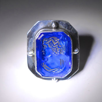 Intaglio Cameo Sterling Silver Ring, Cut Glass, Art Deco Cobalt Blue, Vintage sz 8