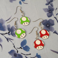 Power Up Mushroom Earrings in your choice of Red or Green - Cute small Kawaii
