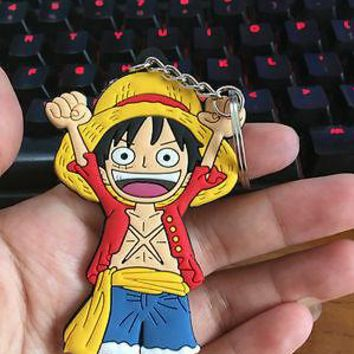 One piece Luffy hand up silica Bag Parts Mini Anime Action Figure Key Ring Kids Toy Pendant bag Chain Holder Accessories