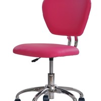 New Pink PU Leather Mid-Back Mesh Task Chair Office Desk Task Chair H20