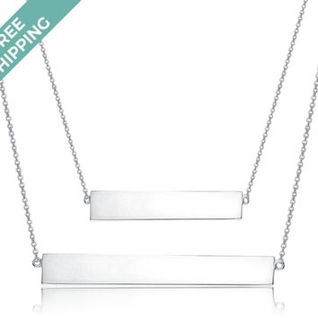 kiz&Co Sterling Silver Double Bar Necklace