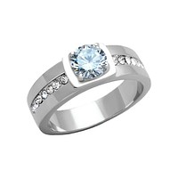 Cavalier - Men's Stainless Steel High Polished CZ Ring