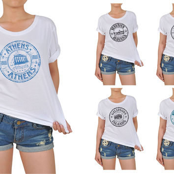 Women's Stamps of countries-2 Printed Cotton T-shirt WTS_12