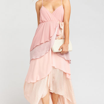 Oracle Ruffle Maxi Dress ~ Blush Colorblock