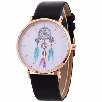 Women Wind Chimes Pattern Quartz Watch Cowboy Belt Table Watch 2017 Special dial Watches Stylish Relogio Quartz Wristwatch